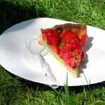 tarte pistache, fraises et framboises